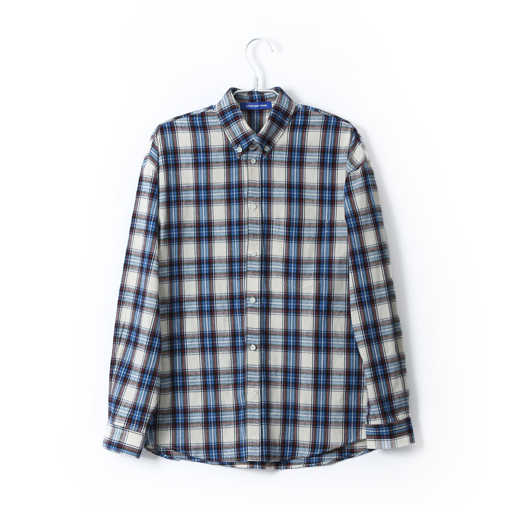 NAVY PLAID FLANNEL SHIRT