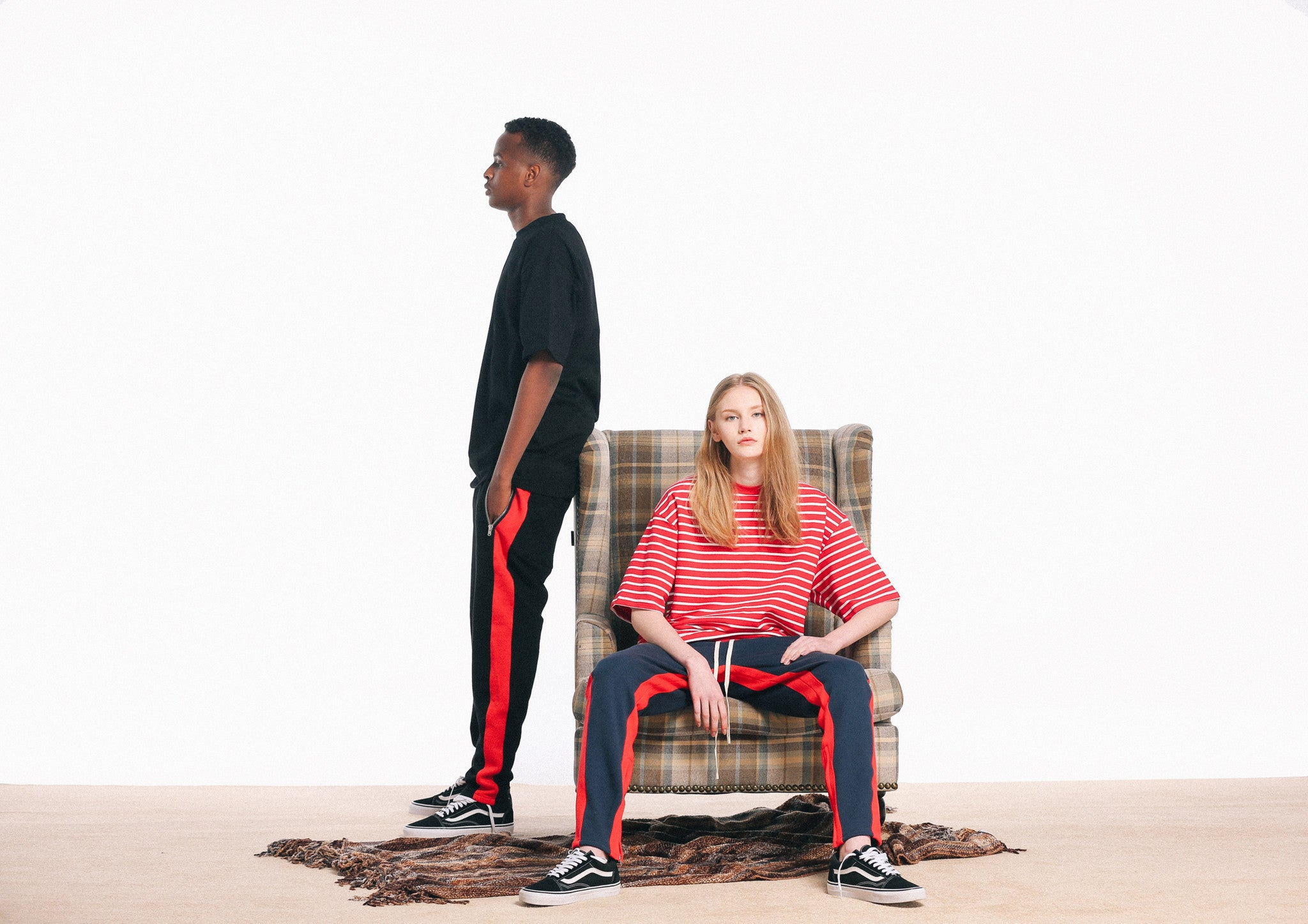 STRIPED TRACK PANTS NAVY/RED