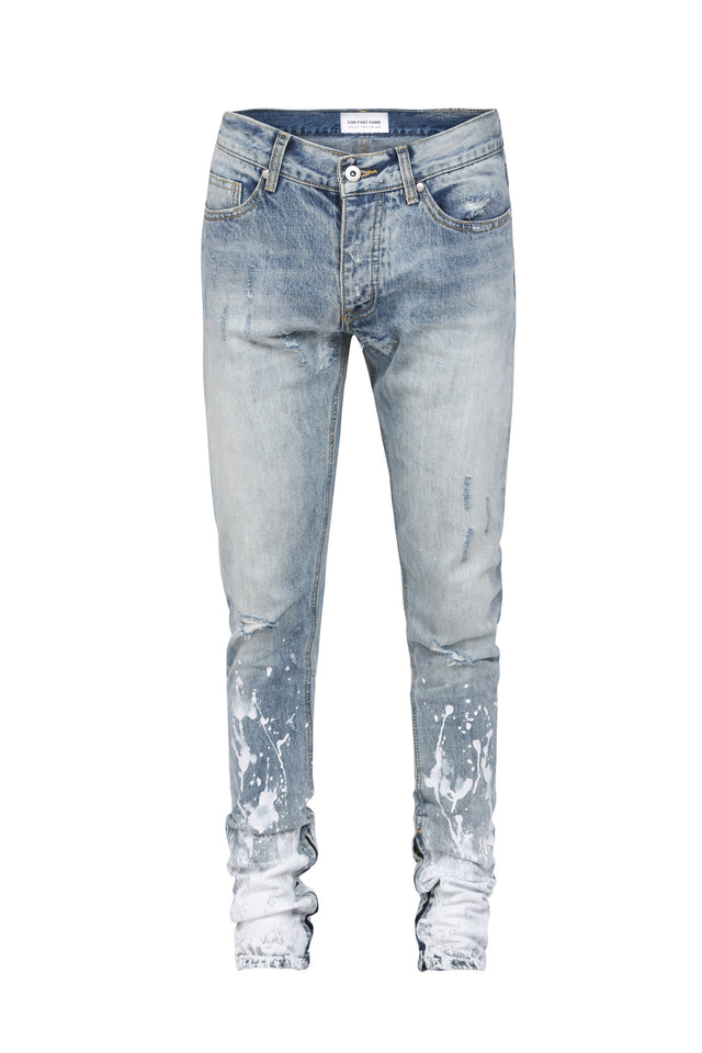 BLUE SKINNY DENIM JEAN WITH ZIPPERS