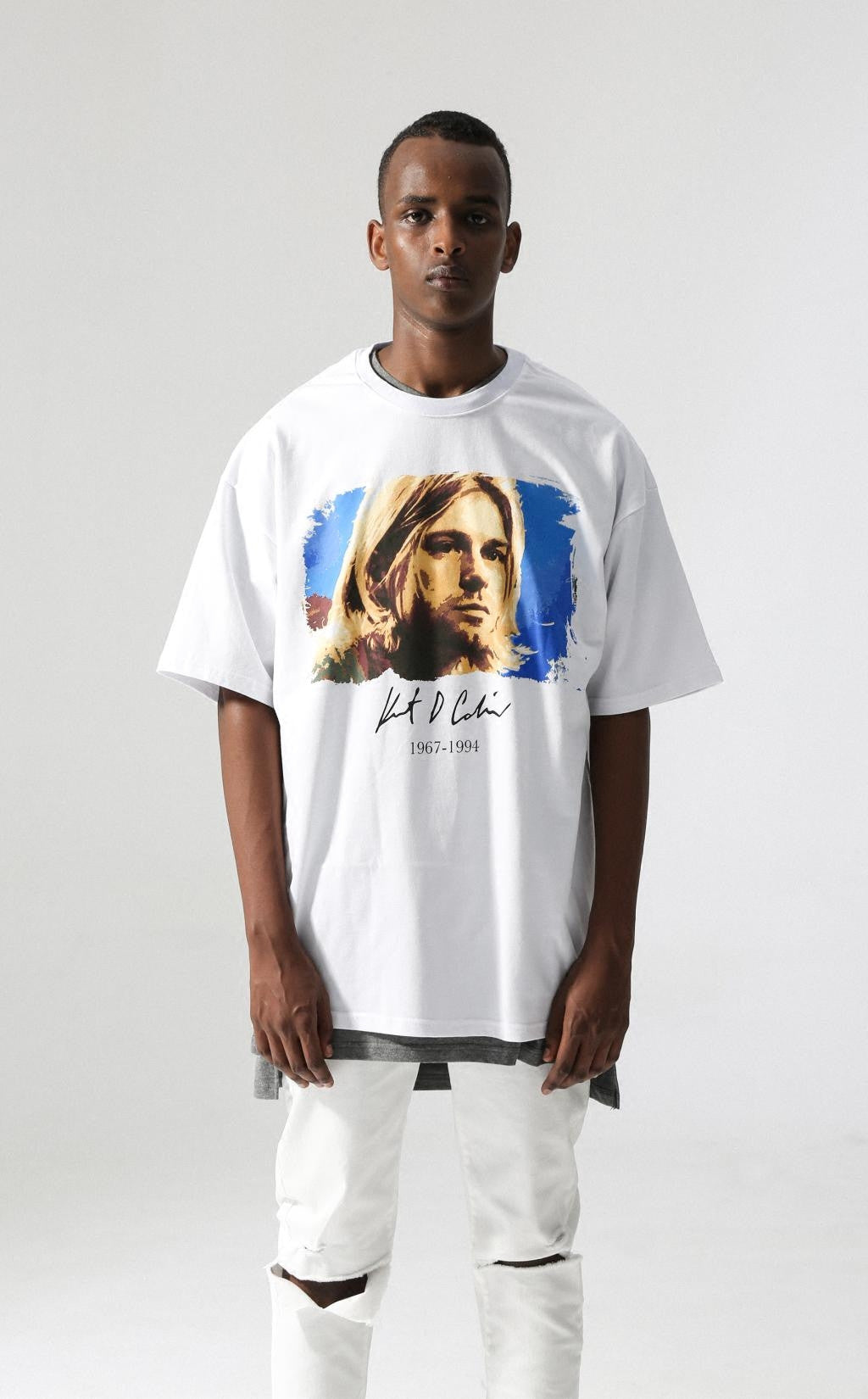 "FFF INC. SUMMER TOUR ROCK TEE  ""KURT COBAIN"" WHITE"