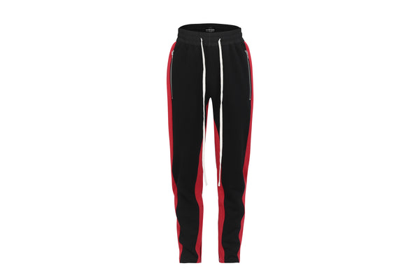 STRIPED TRACK PANTS BLACK/RED