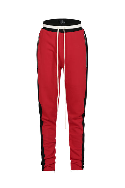 STRIPED TRACK PANTS RED/BLACK