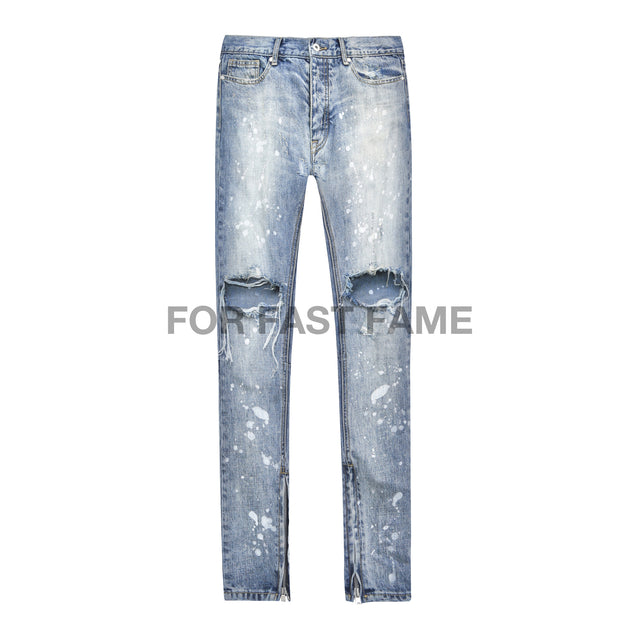 BLUE SKINNY DISTRESSED  DENIM JEAN WITH  PAINT SPLATTER