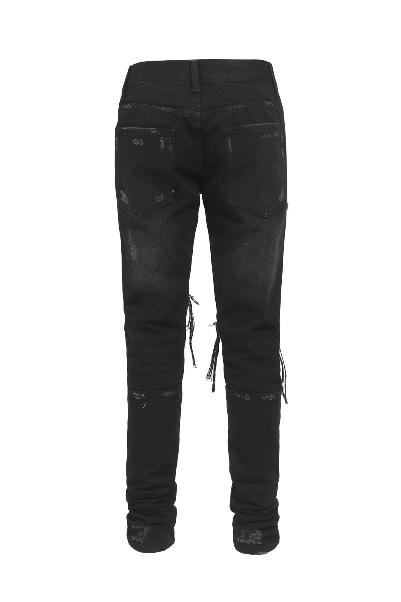 BLACK DENIM JEAN WITH KNEE RIPS AND ANKLE ZIPPERS
