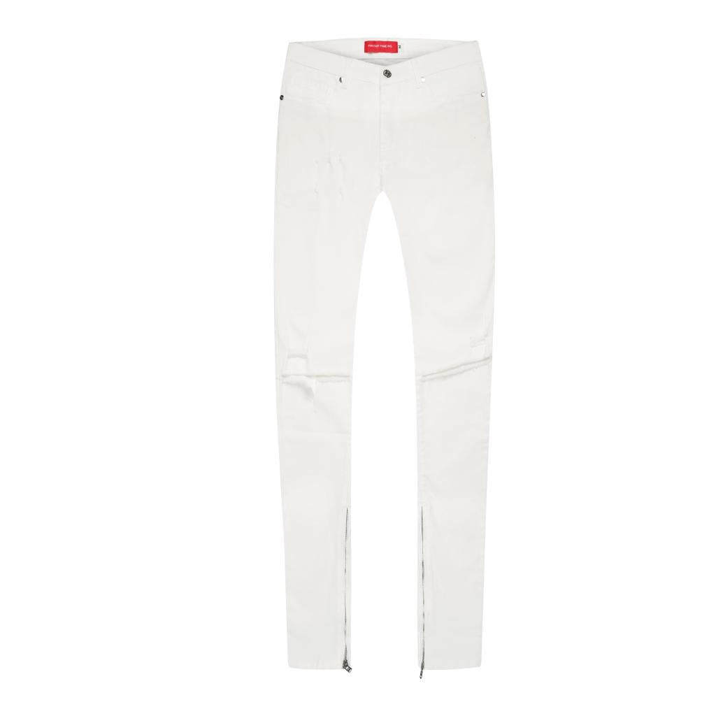 WHITE DENIM JEAN WITH KNEE RIPS AND ANKLE ZIPPERS