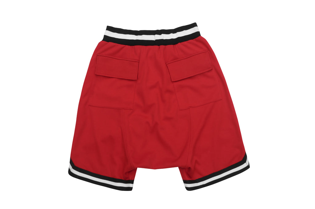 DRAWSTRING DROPCROTCH MESH SHORTS RED