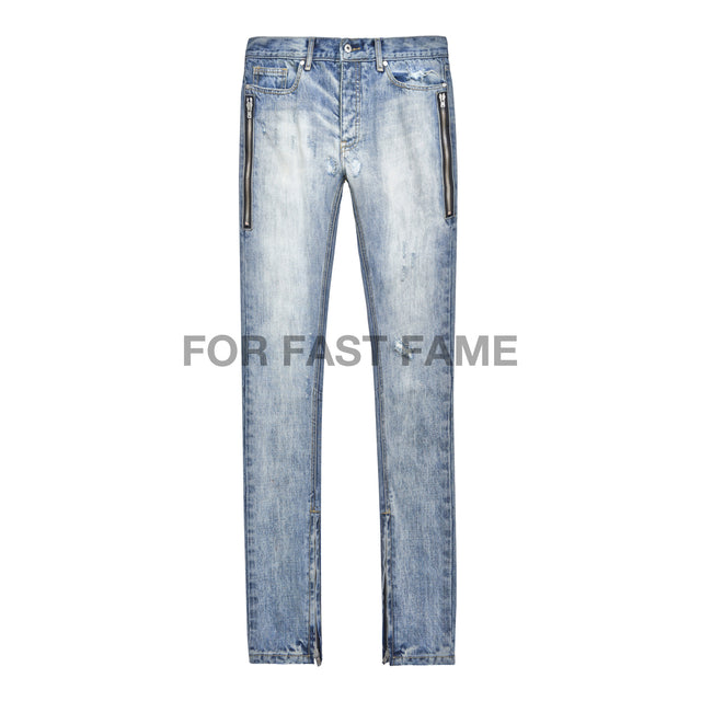 BLUE SKINNY  DENIM JEAN WITH  DUAL ZIPPERS