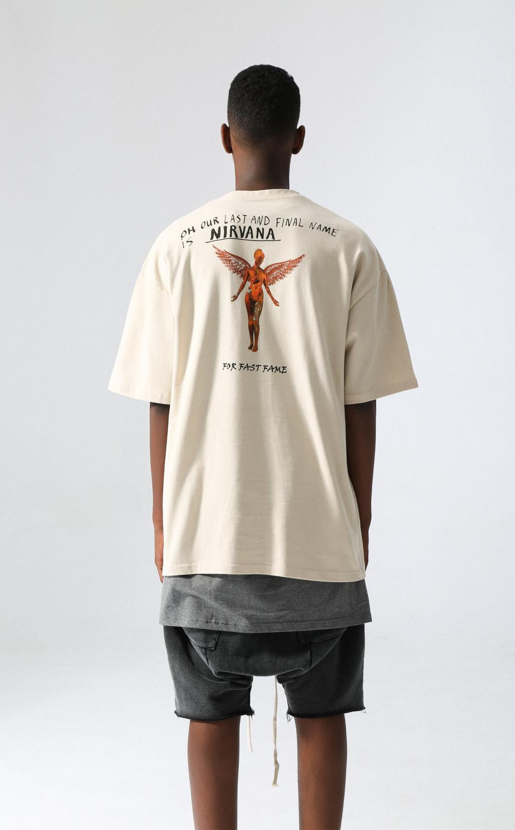 "FFF INC. SUMMER TOUR ROCK TEE  ""KURT COBAIN"" TAN"