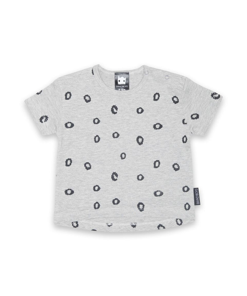 Band of Boys - Organic Baby Tee - Leopard Spots - Marle Grey