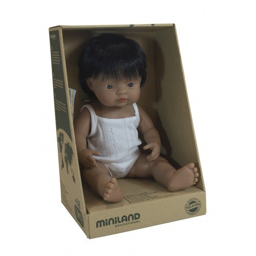 Miniland - 38cm Baby Doll - Hispanic Boy