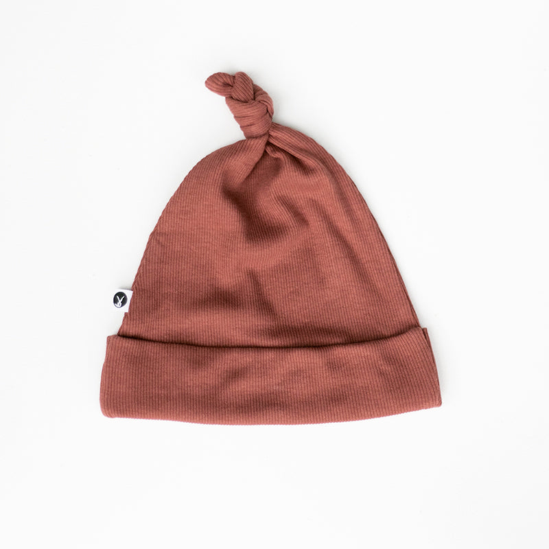 Burrow & Be - Rib Top Knot Hat - Clay