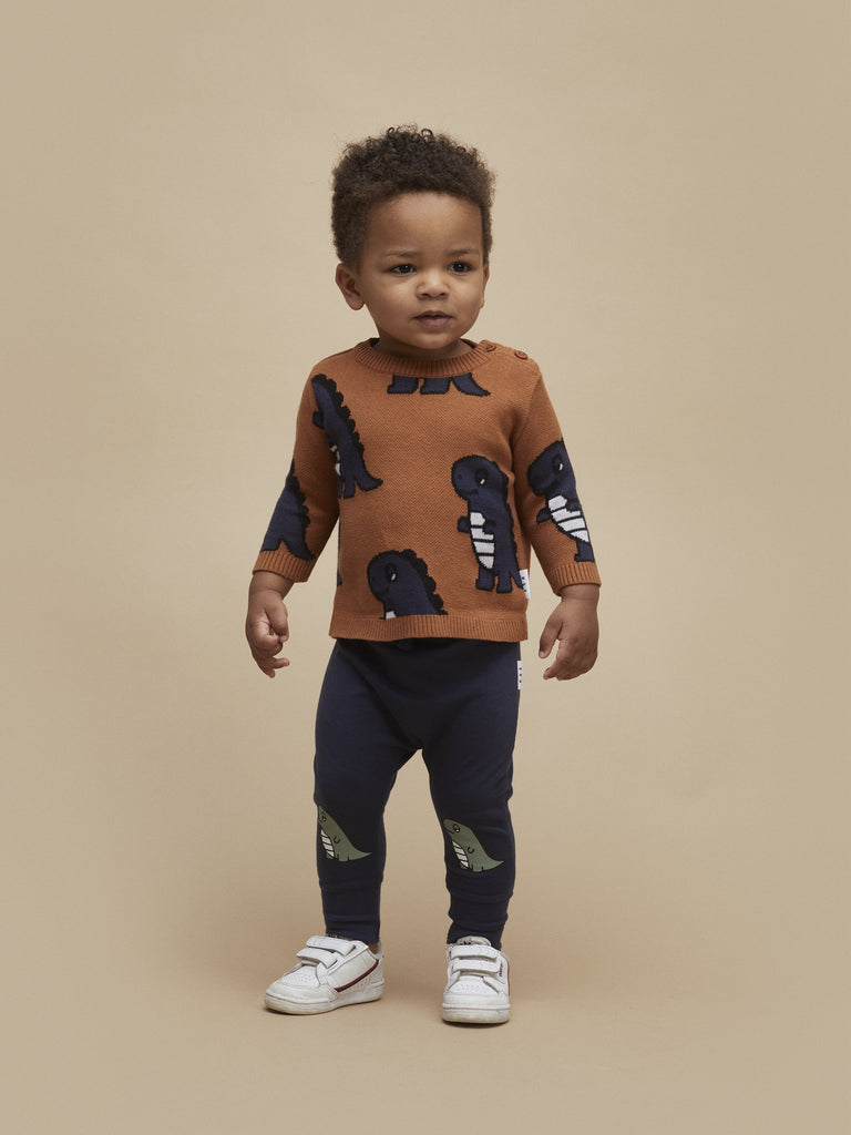 Huxbaby - Dino Knit Jumper - Leather