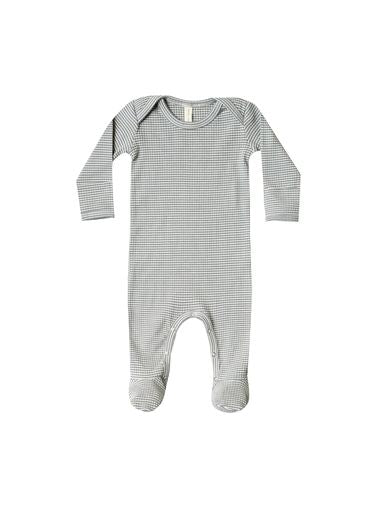 Quincy Mae - Ribbed Footie - Eucalyptus Stripe