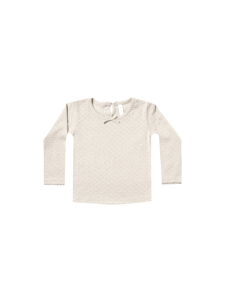 Quincy Mae - Pointelle Long Sleeve Tee - Pebble