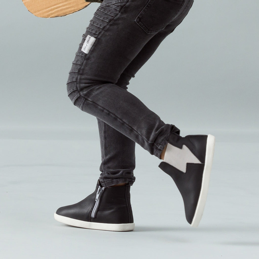 Pretty Brave - Electric Leather Boot - Black with Grey