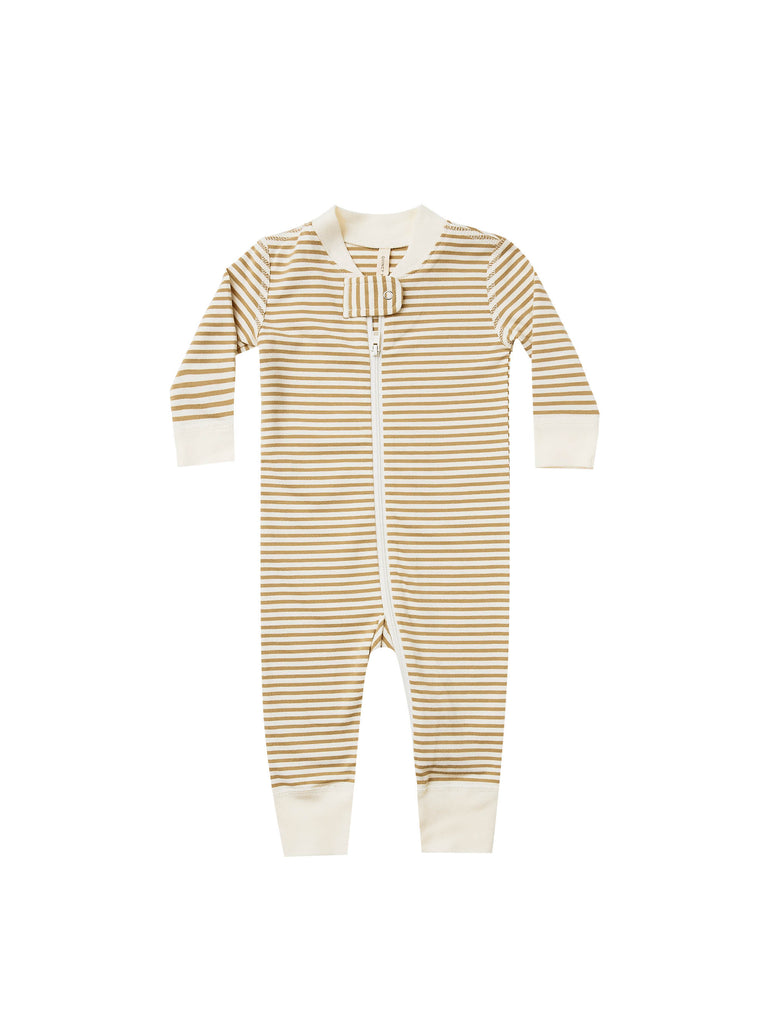 Quincy Mae - Zip Longsleeve - Gold Stripe