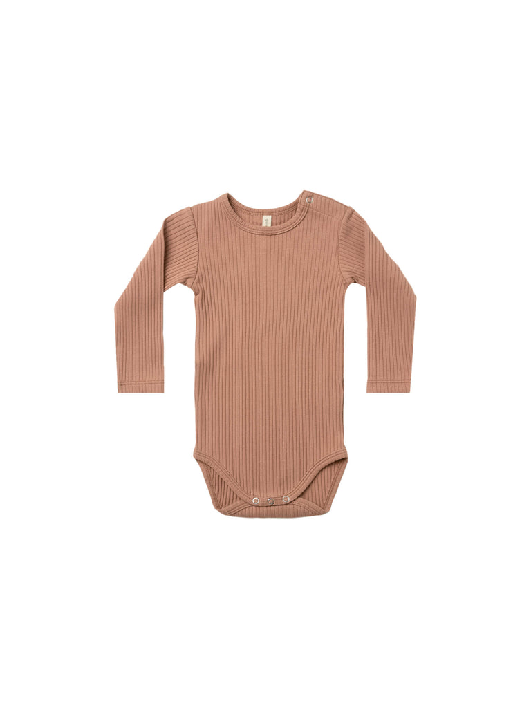 Quincy Mae - Ribbed Long Sleeve Onesie - Terracotta