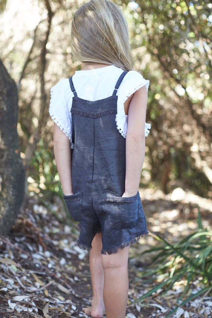 Mii Love Mu - Linen Playsuit - Charcoal