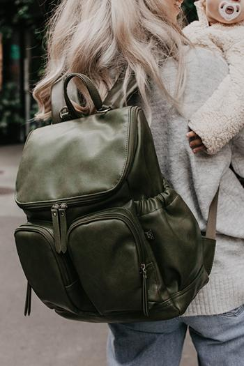 OiOi -  Faux Leather Backpack - Olive