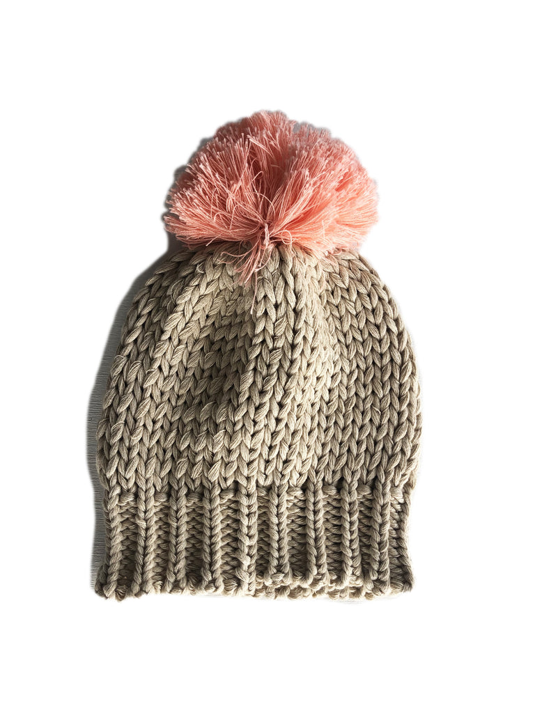 Bella and Lace - Pom Pom Beanie - Porridge