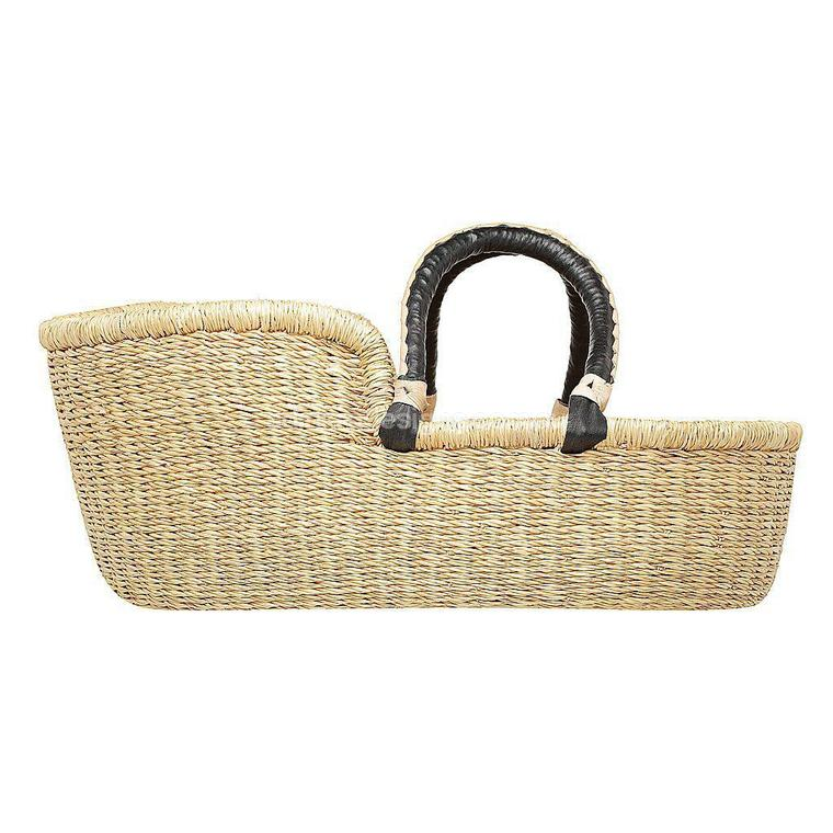 Adinkra - Doll Moses Basket - Black Cream Handles