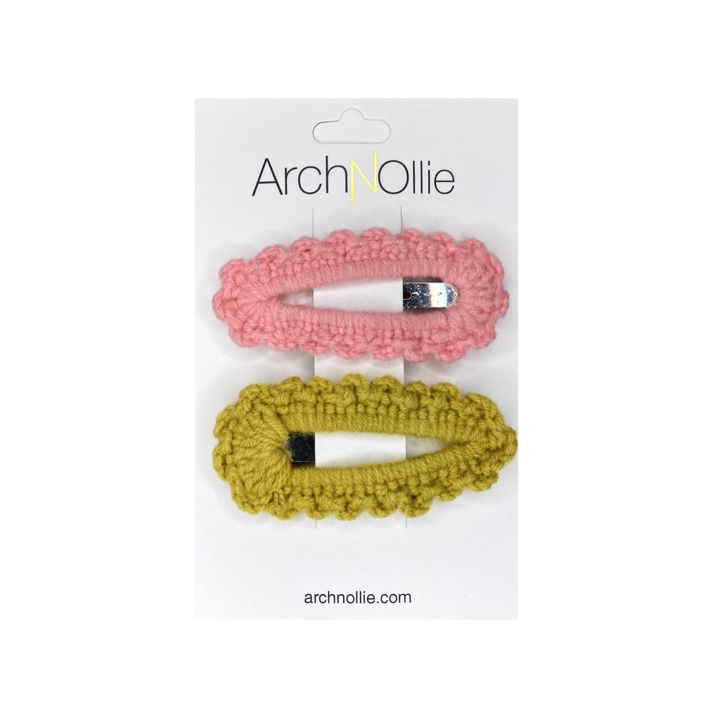 Arch N Ollie - Crochet Snaps Twin Pack - Mustard/Pink