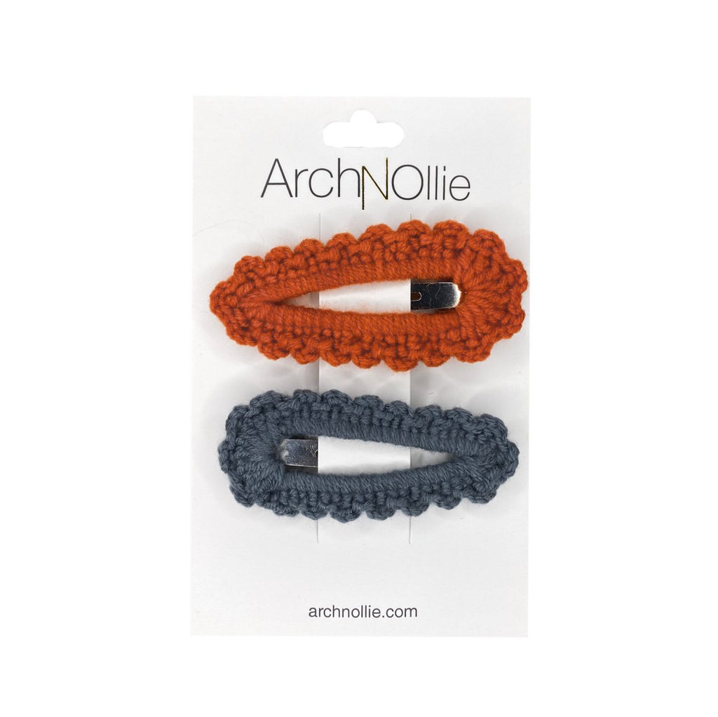 Arch N Ollie - Crochet Snaps Twin Pack - Grey/Rust
