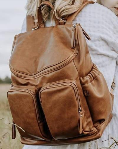 OiOi - Tan Faux Leather Backpack