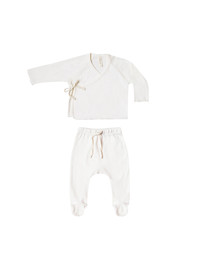 Quincy Mae - Kimono Top + Footed Pant Set - Ivory