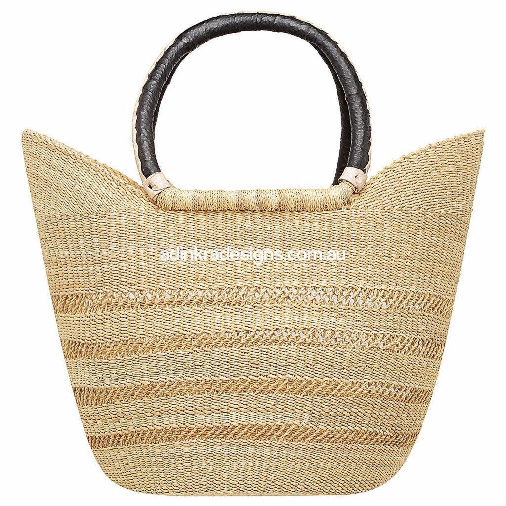 Adinkra - Market Basket - Natural Open Weave Black/Cream Handles