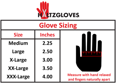 HALTZGLOVES reflective saftey glove sizing chart