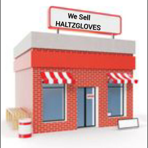 red cartoon brick building with we sell HALTZGLOVES sign