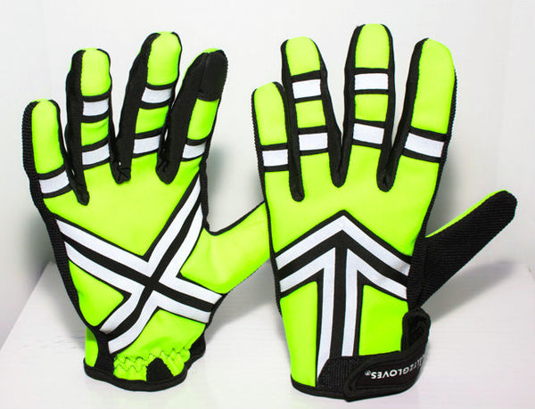 HALTZGLOVES Nightime glove, x on palm, arrow on back of hand, reflective glove, traffic glove, law enforcement, police, hi visibility gear, high visibility apparel, EMS, EMT, fire fighter, runner, cyclist