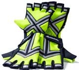 HALTZGLOVES Nighttime half glove, x on palm, arrow on hand, law enforcement, police, hi visibility gear, high visibility apparel, EMS, EMT, fire fighter, runner, cyclist