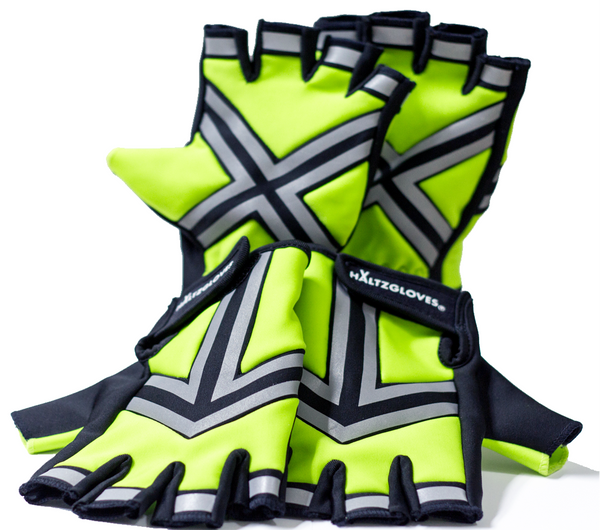 HALTZGLOVES Nighttime half glove, x on palm, arrow on hand,reflective glove, law enforcement, police, hi visibility gear, high visibility apparel, EMS, EMT, fire fighter, runner, cyclist