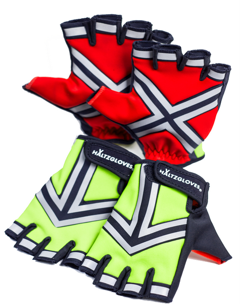 HALTZGLOVES Daytime half glove, x on palm, arrow on hand, law enforcement, police, hi visibility gear, high visibility apparel, EMS, EMT, fire fighter, runner, cyclist