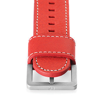 "Watch Strap: Red ""Flame"" Leather For SB Metropolis-SB Design Studio"