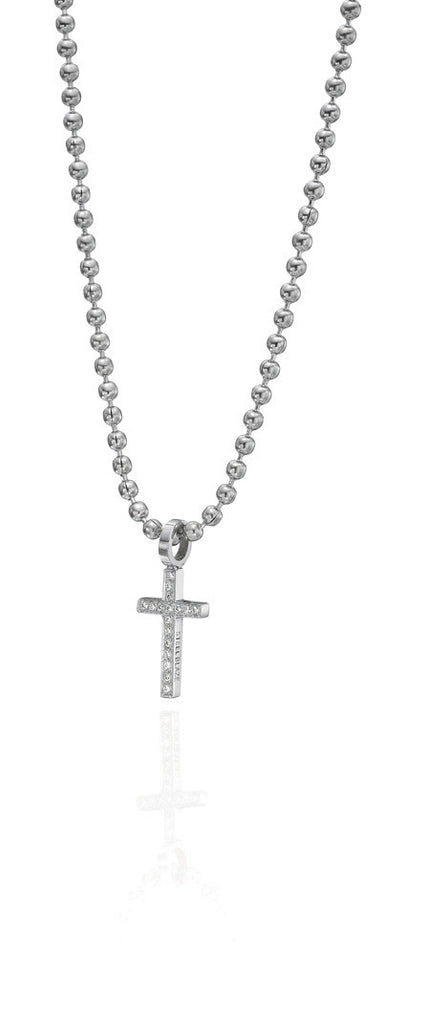 SBP3D1 Steel Blaze Diamond Cross Pendant