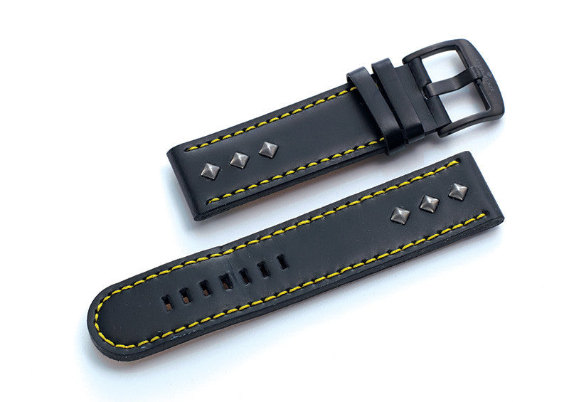 Steel Blaze Black Strap w/Yellow Stitching & Rivets-SB Design Studio