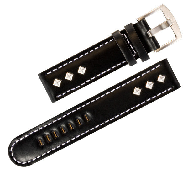 Steel Blaze 22mm Black Watch Strap w/Rivets-SB Design Studio