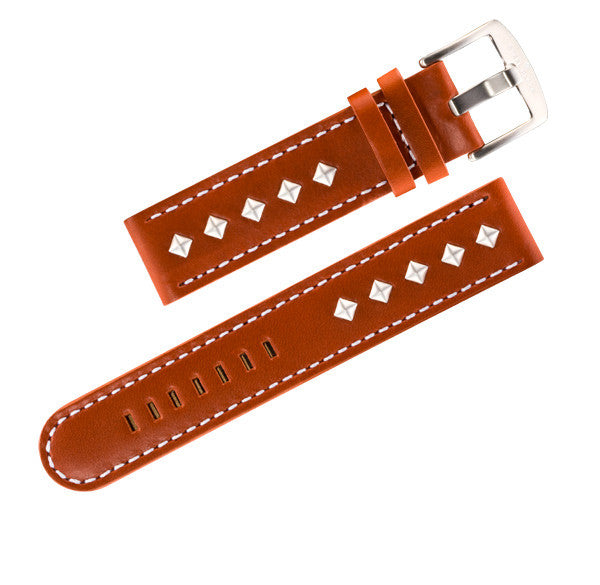 Steel Blaze 22mm Brown Watch Strap w/Rivets-SB Design Studio
