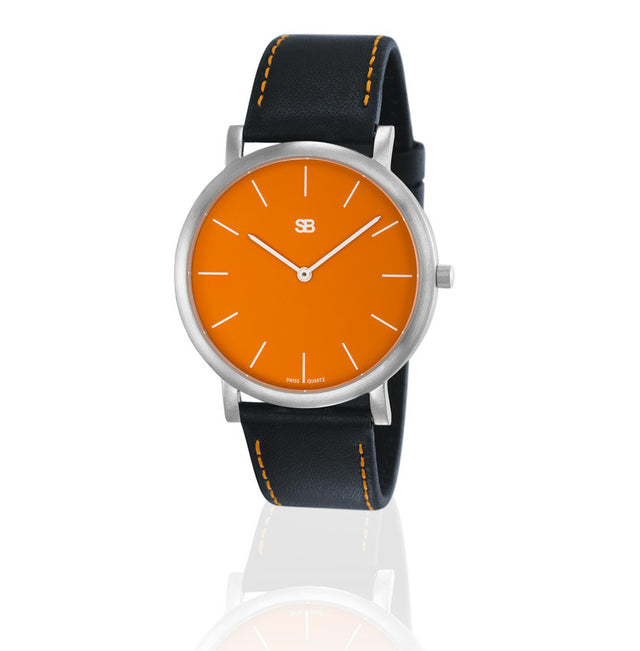 SOB1003 SOB Steel Watch w/Orange Dial-SB Design Studio