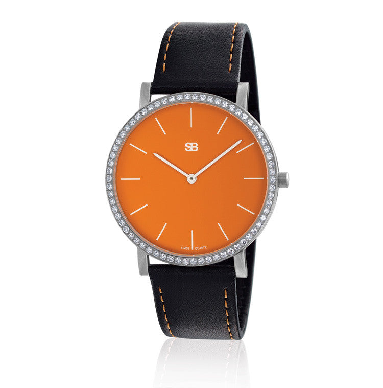 SOB1003/DIA SOB Steel Watch w/Orange Dial & Diamond Bezel-SB Design Studio