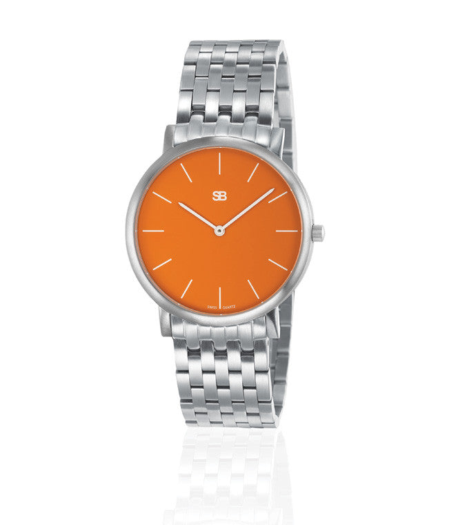 SOB1003/BRLINK SB Steel Watch w/Orange Dial-SB Design Studio