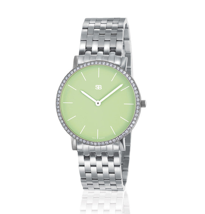 SOB1005/DIA SB Steel Watch w/Green Dial & Diamond Bezel-SB Design Studio