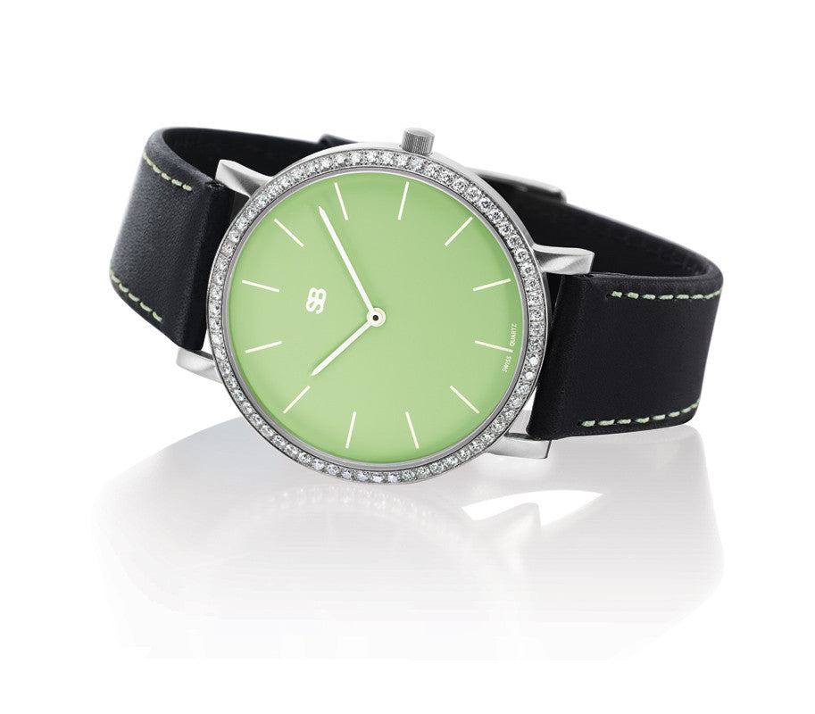 SOB1005/DIA SOB Steel Watch w/Green Dial & Diamond Bezel-SB Design Studio