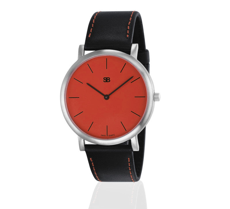 SOB1007 SOB Steel Watch w/Red Dial-SB Design Studio