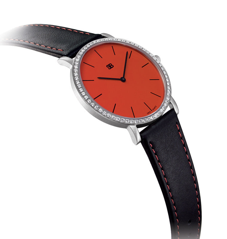 SOB1007/DIA Steel Watch w/Red Dial & Diamond Bezel-SB Design Studio