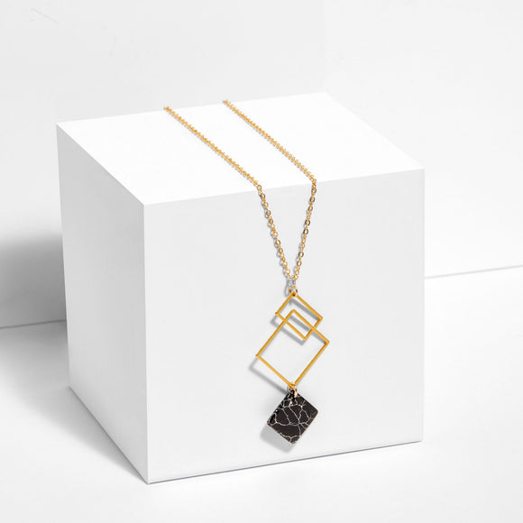 Ares - Squares Necklace with Howlite