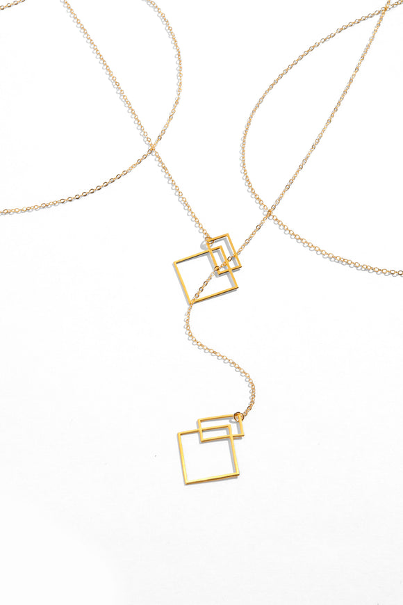 Ares Lariat - Adjustable Lariat with Small Asymmetrical Squares